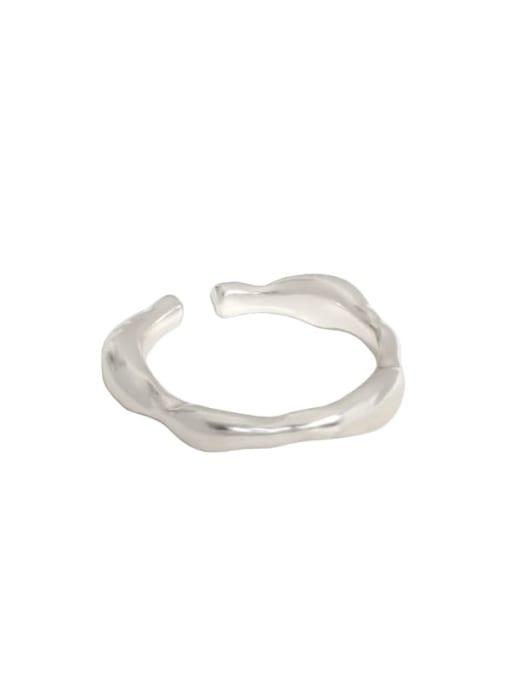 Silver [size 13 adjustable] 925 Sterling Silver Irregular Minimalist Band Ring